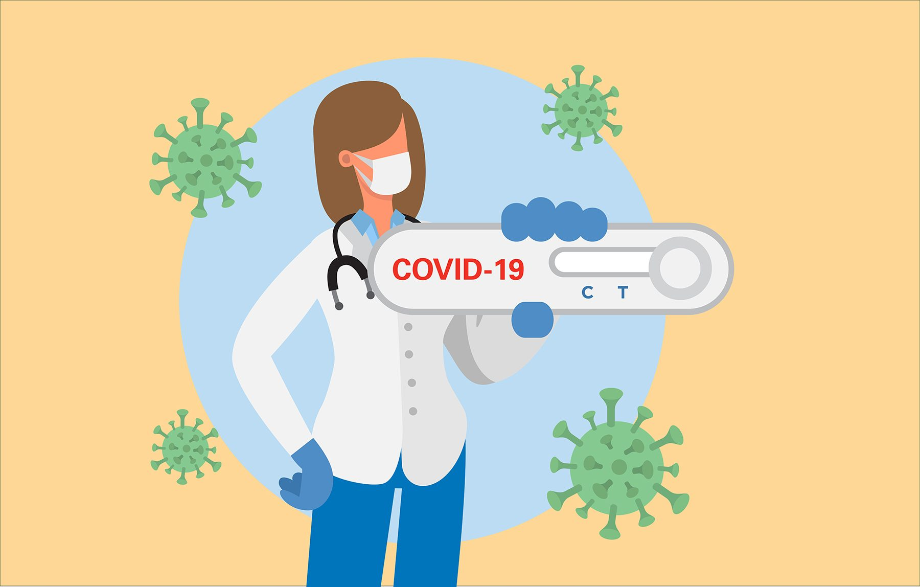 Illustration of doctor holding rapid COVID-19 antigen test