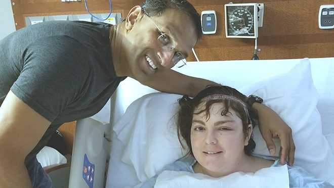 Brain tumor survivor Kellilyn Monar with her neurosurgeon, Sujit Prabhu, M.D.