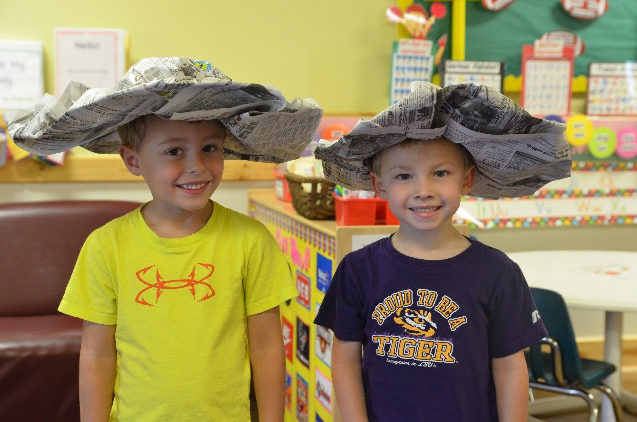 two kids in homemade hats