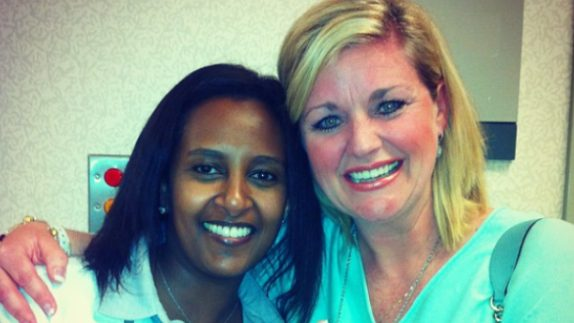 Cancerwise blog post: breast cancer survivor Amy Countiss with Welela Tereffe, M.D.