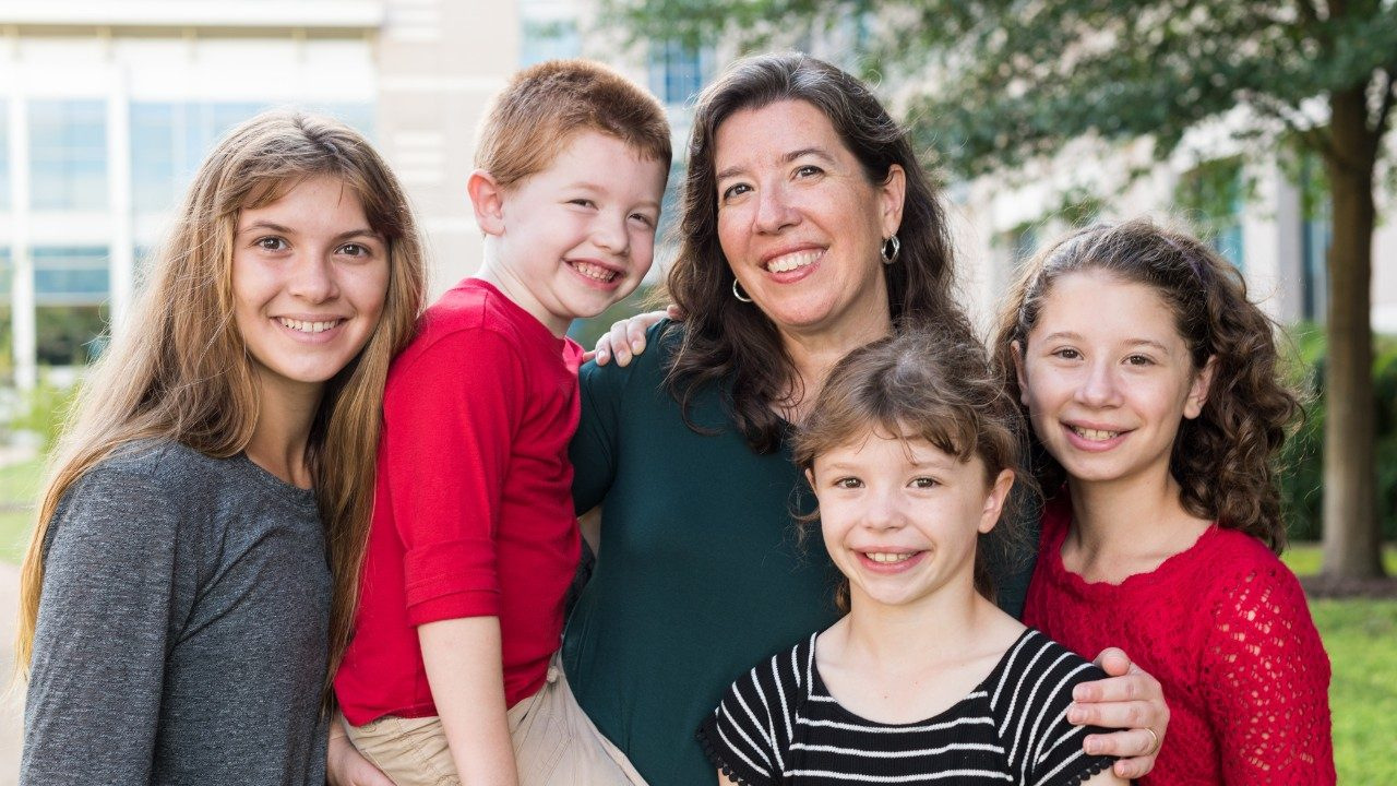 Cancerwise blog post: Jennifer Robinson with her children, including Elise, a bone cancer survivor who was treated at MD Anderson Children's Cancer Hospital