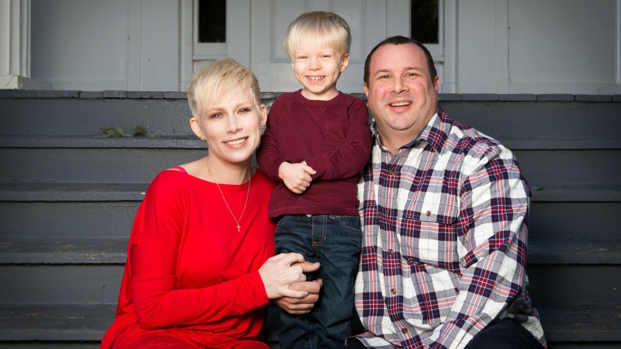 Dusty Bailey with her son and husband, skull base tumor survivor Mark Bailey