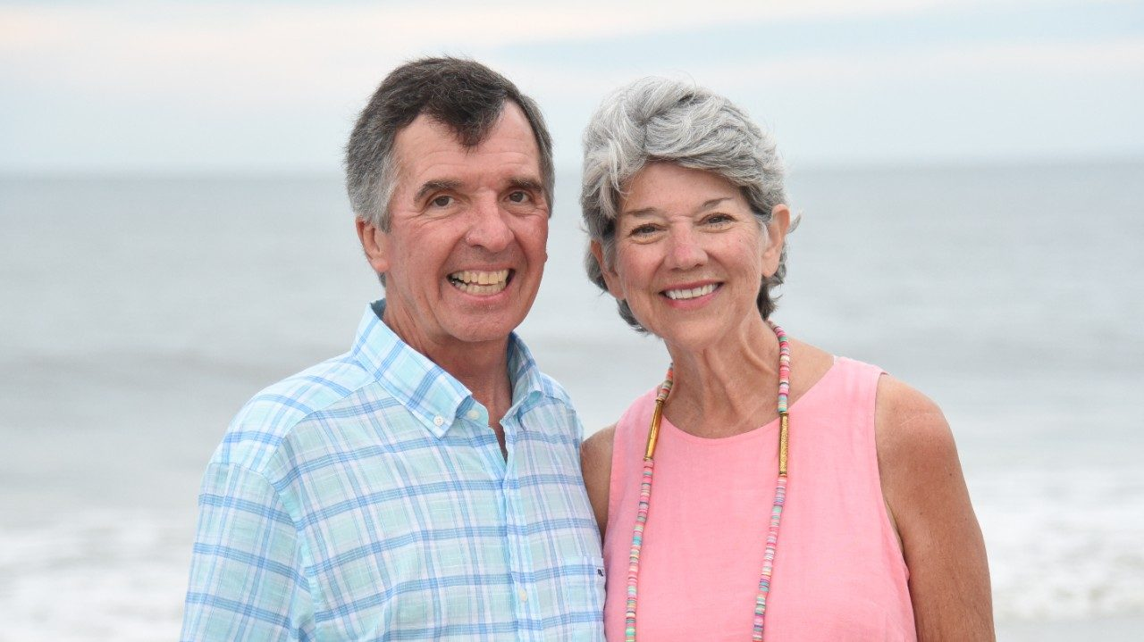 Pancreatic cancer survivor Leslie Melson (right) and her husband, Jim