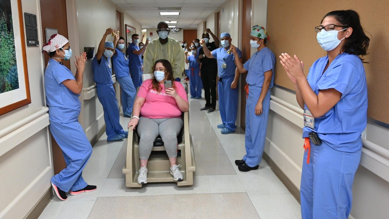 Leukemia survivor Mary Hernandez leaves the MD Anderson COVID-19 ICU
