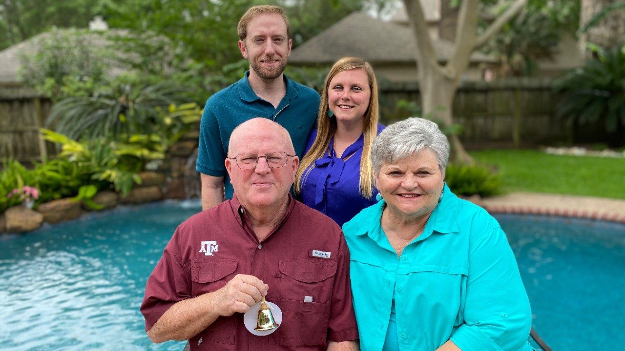 "Prostate and colorectal cancer survivor Jack (""Pat"") Chamberlain and his family"