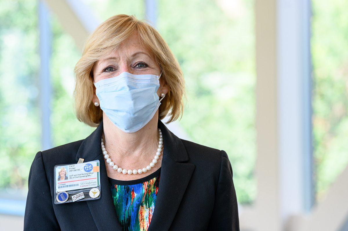 MD Anderson Chief Nursing Officer Carol Porter, D.N.P., wears a mask during the coronavirus (COVID-19) pandemic