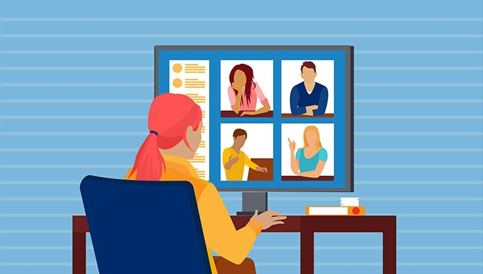 Graphic of woman attending virtual cancer support group meeting on desktop computer