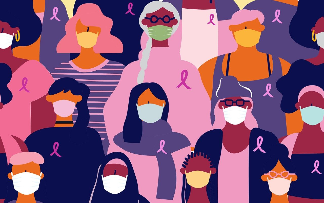 Illustration of breast cancer survivors in masks
