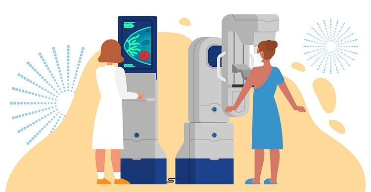 illustration of woman wearing a mask while getting a mammogram and a radiologist reading a mammogram