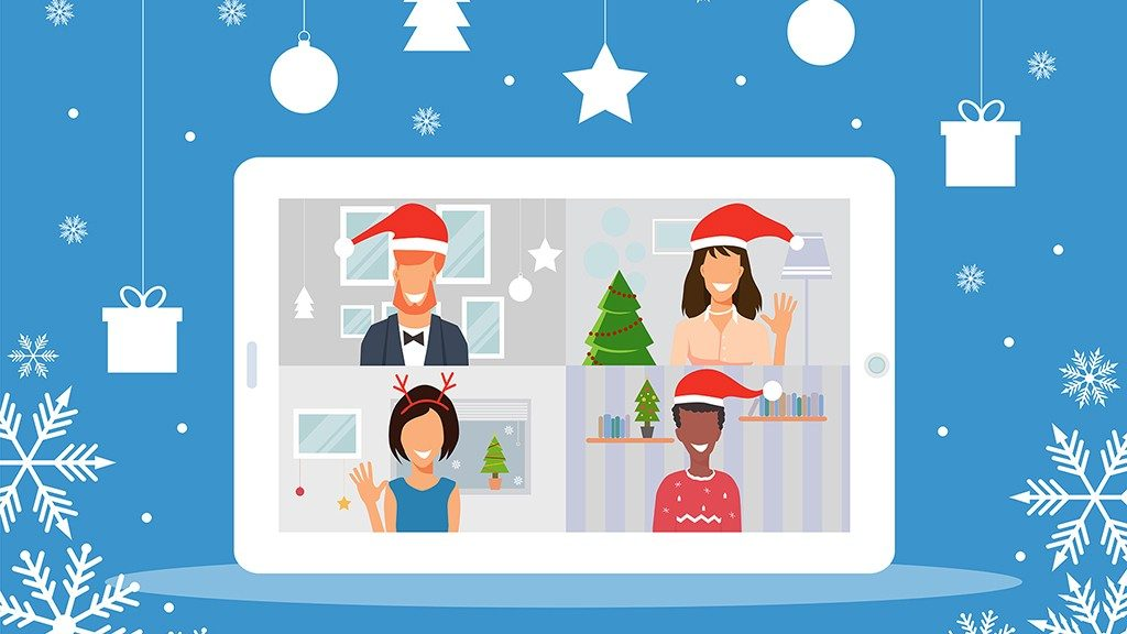 Illustration of zoom holiday party on tablet screen