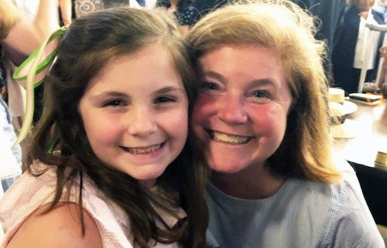Large B-cell non-Hodgkin lymphoma survivor Amy Lee with her daughter, Evans