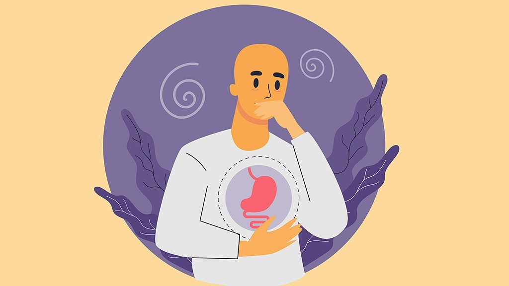 Graphic of bald man covering mouth and holding abdomen