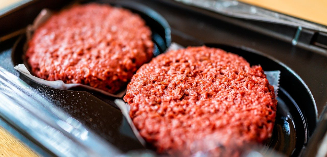 Two plant-based meat burgers in packaging