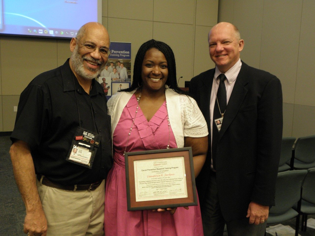 "(Left to Right) Dr. Lovell Jones; 2012 CPRTP Summer Graduate Research Asst., Demetrice ""Dee"" Jordan; Dr. Ernest Hawk, V.P. Division of Cancer Prevention and Population Sciences"