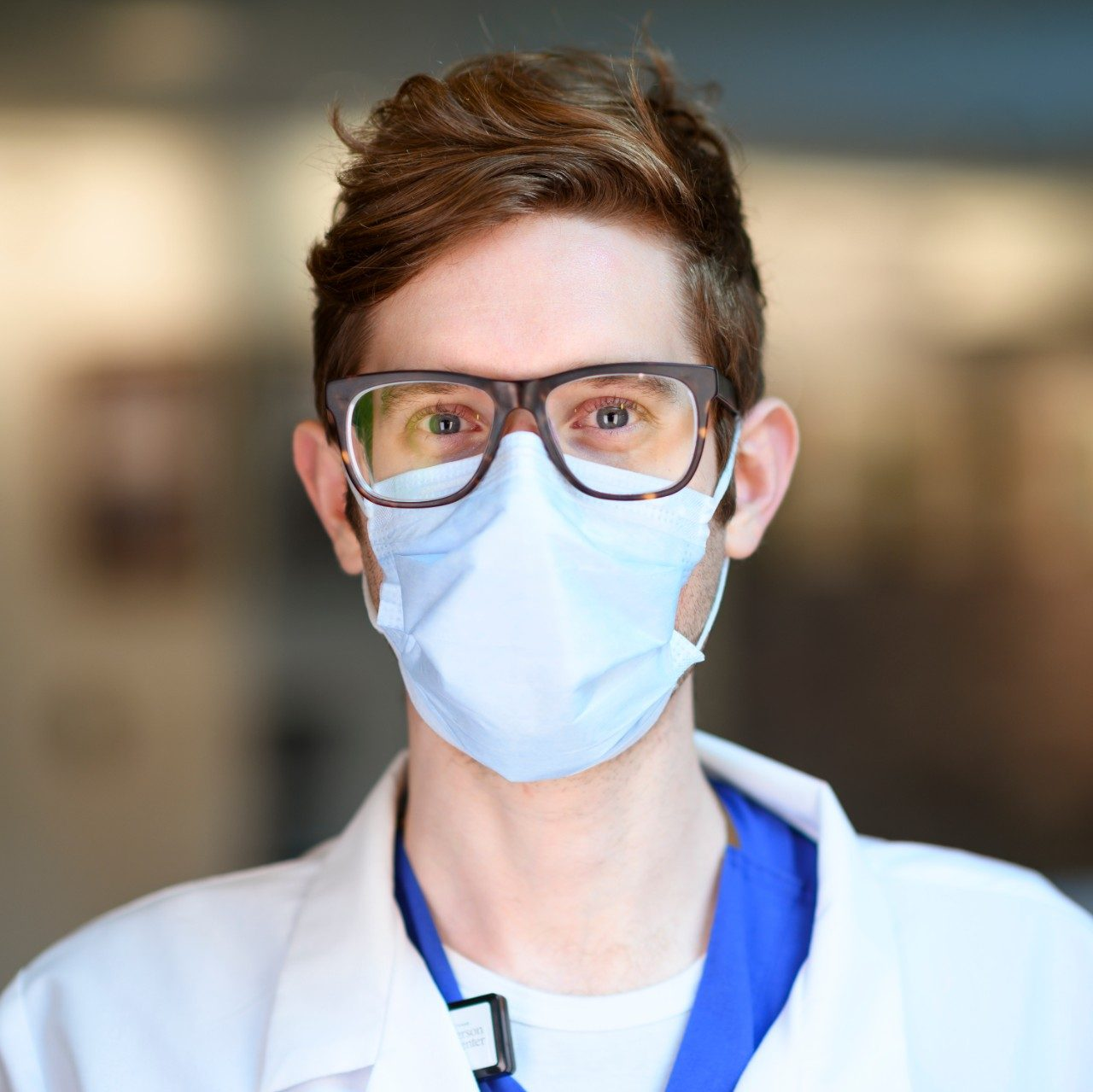 MD Anderson employee wearing face mask