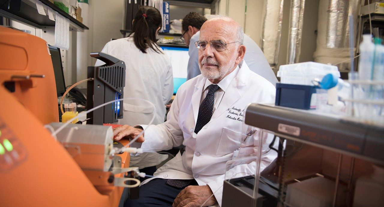Michael Andreeff, M.D., Ph.D., professor of Leukemia, in his laboratory