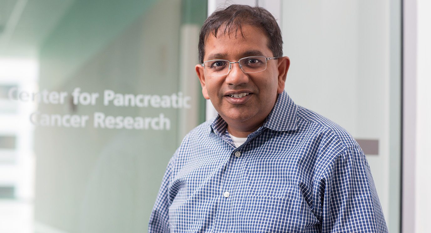 Pancreatic Cancer Moon Shot co-leader Anirban Maitra, M.B.B.S., leads the GENERATE clinical trial, a cutting-edge risk-assessment effort that offers genetic testing to people who have a close relative diagnosed with pancreatic cancer.