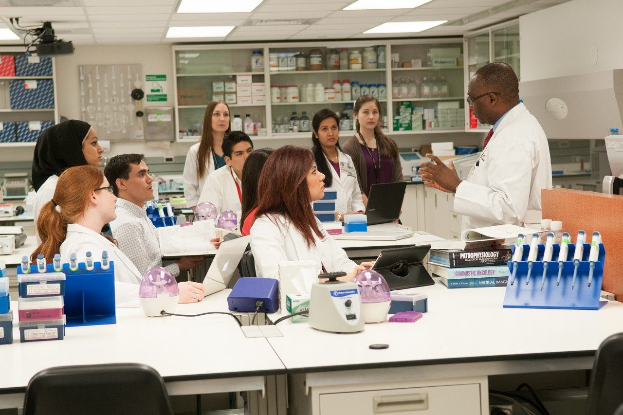 Students and trainees listen and learn in the lab