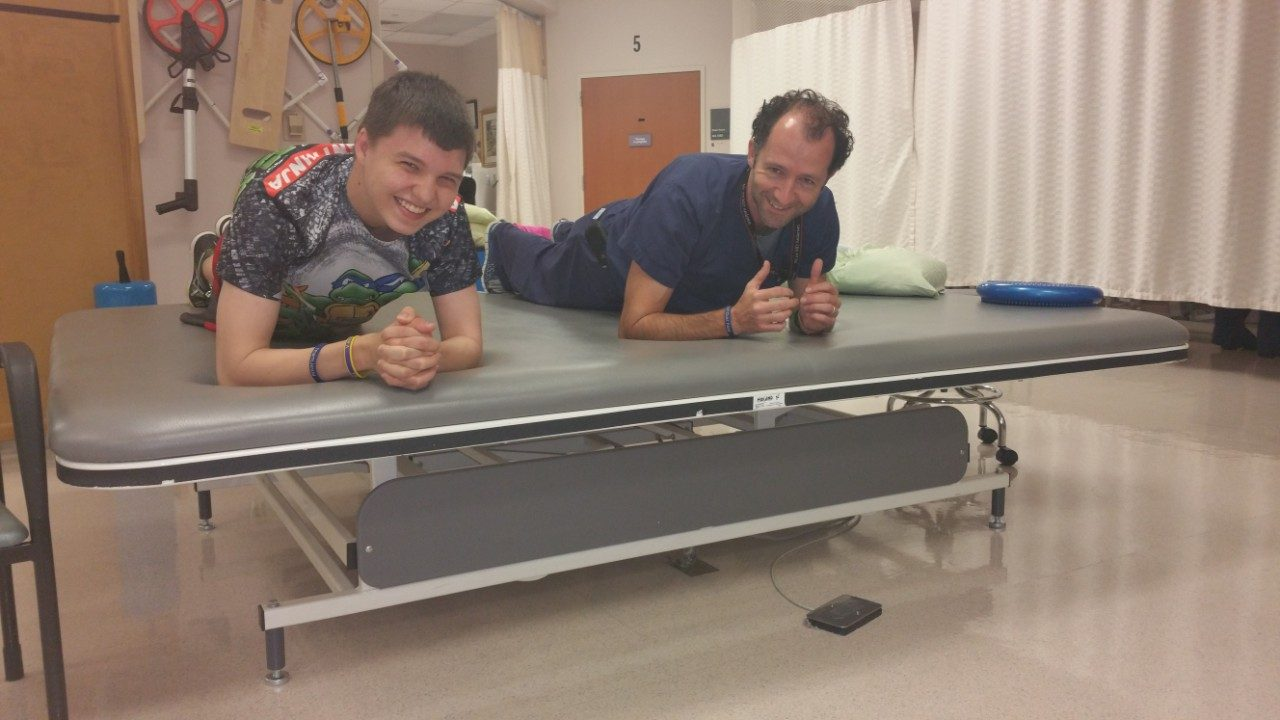Cancerwise blog post: Ewing's sarcoma patient Jacob Ballard with his physical therapist