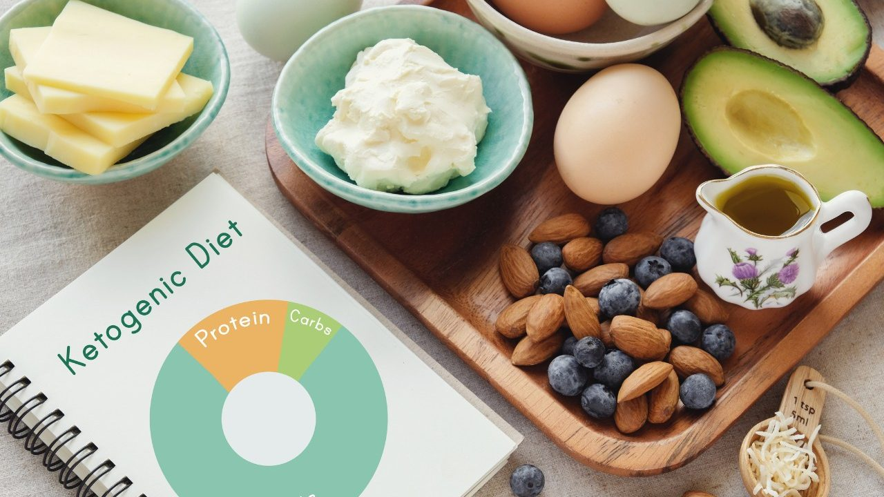 Foods from the keto -- or ketogenic -- diet, including almonds, blueberries and avocadoes