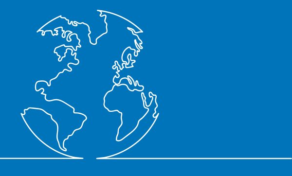 White outline of Earth on blue background