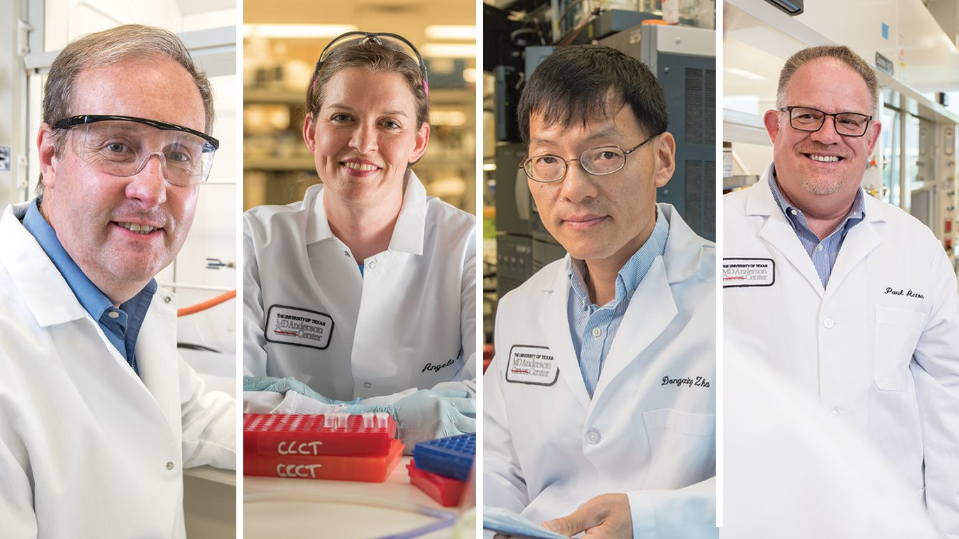 Oncology research Mick Soth, Ph.D., Angela Harris, Dongxing Zha, Ph.D., and Paul Acton