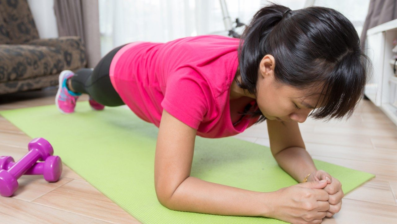 women doing a plank exercise