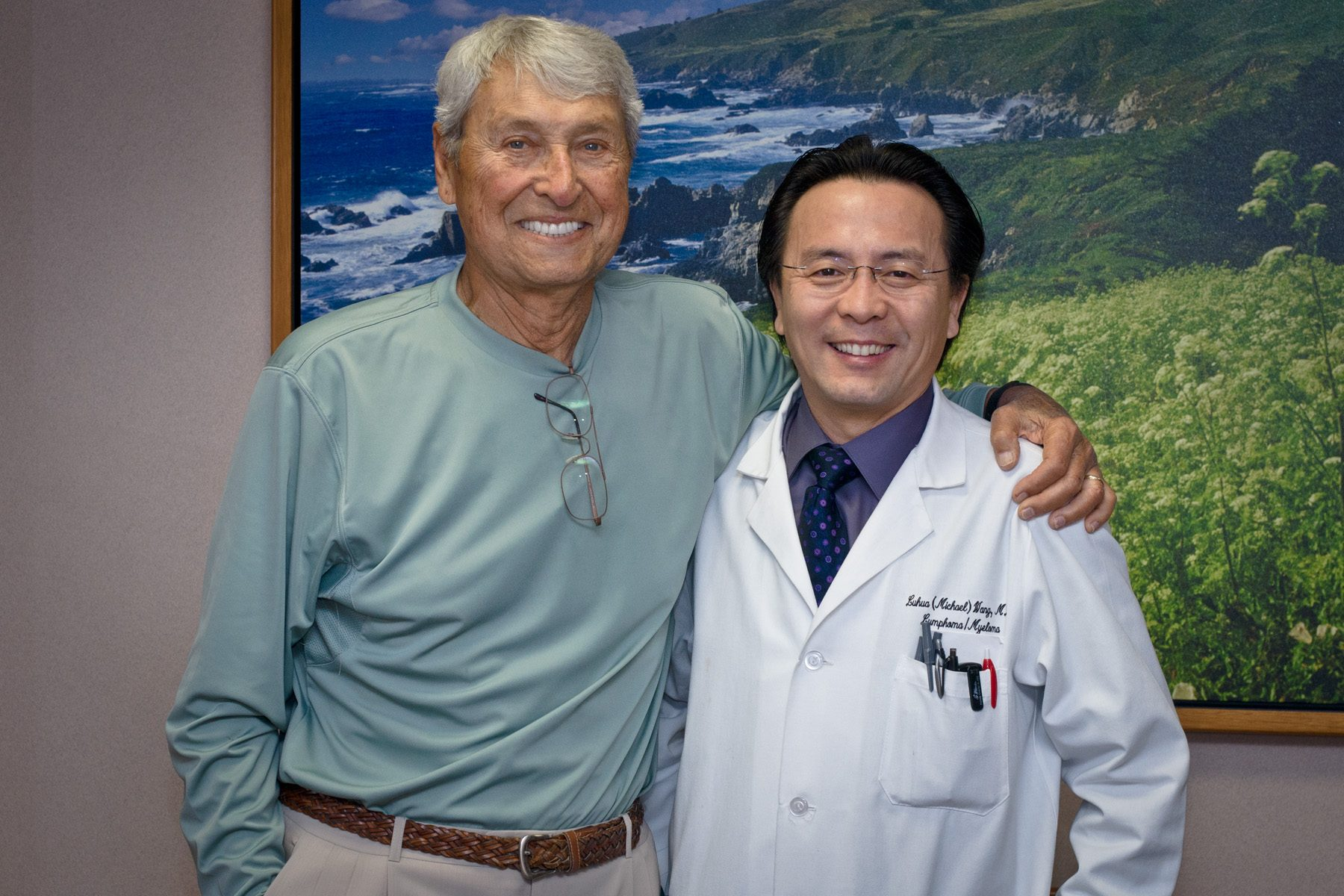 Marvin Kimmel, left, says his diagnosis took him through an array of emotions, but at the end of the day he needed to know whether there was hope. He found it in his MD Anderson oncologist, Michael Wang, M.D. Photo by Barry Smith.