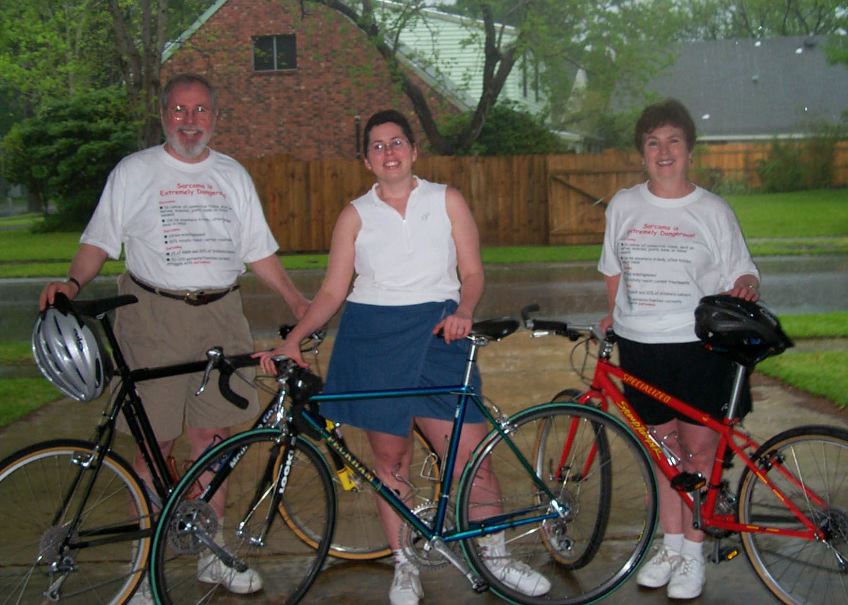 Bruce Shriver, from left poses with daughter Liddy and wife Beverly before beginning the Cycle Zydeco Bike Tour, their first bike ride together as Team Sarcoma. Photo courtesy of Bruce and Beverly Shriver.