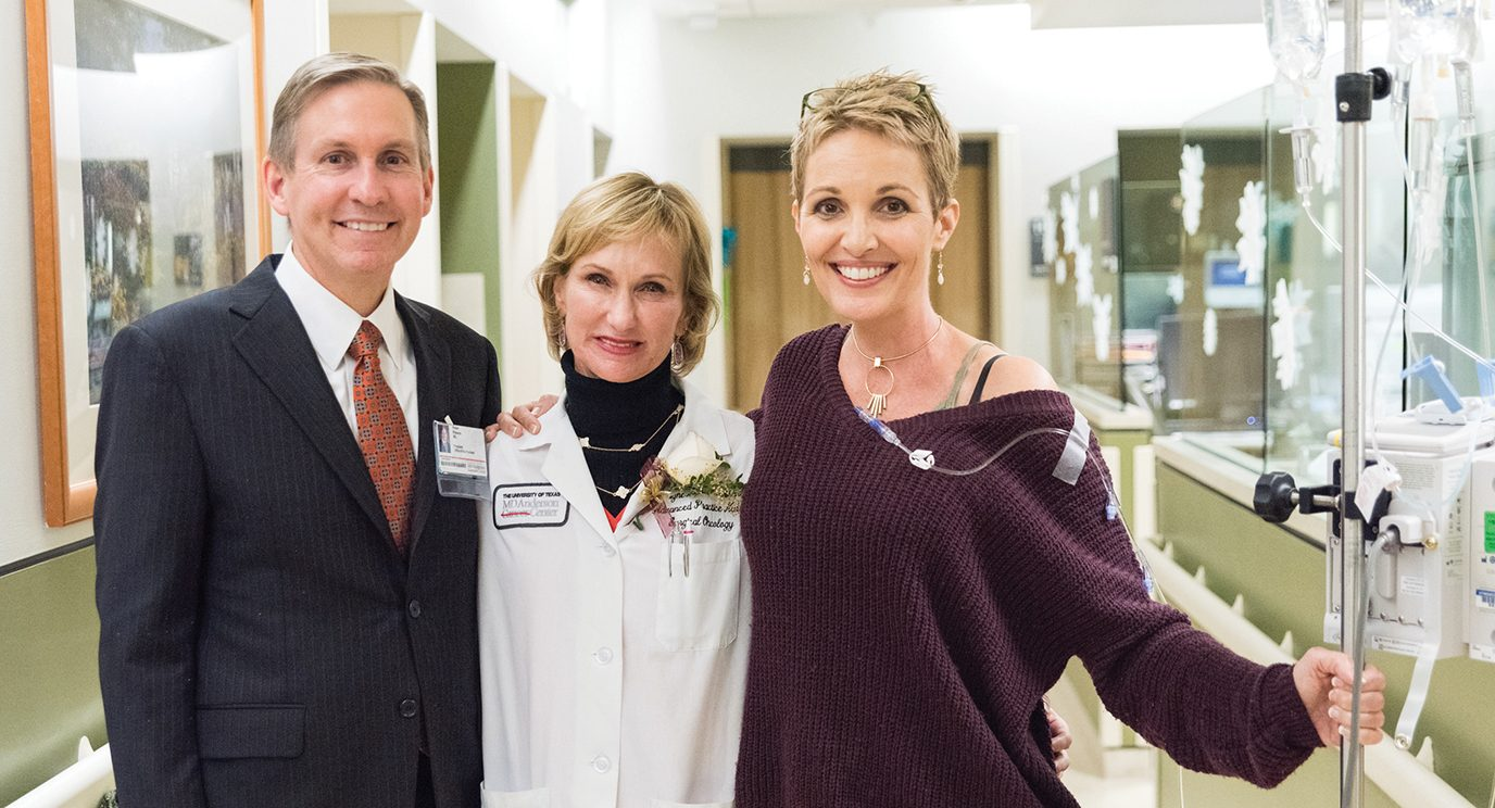 Peter WT Pisters, M.D., president, MD Anderson, Laurie Hughes, advanced practice registered nurse, and Cherie Rineker.