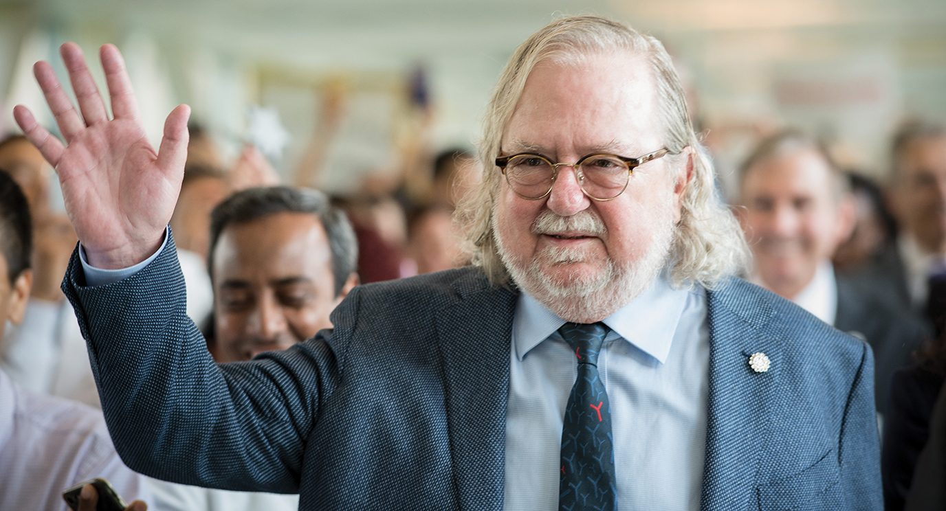 Jim Allison, Ph.D., chair, enjoys a hero's welcome as MD Anderson celebrates his winning the Nobel Prize. Alternative: Jim Allison, Ph.D, during a parade held in his honor