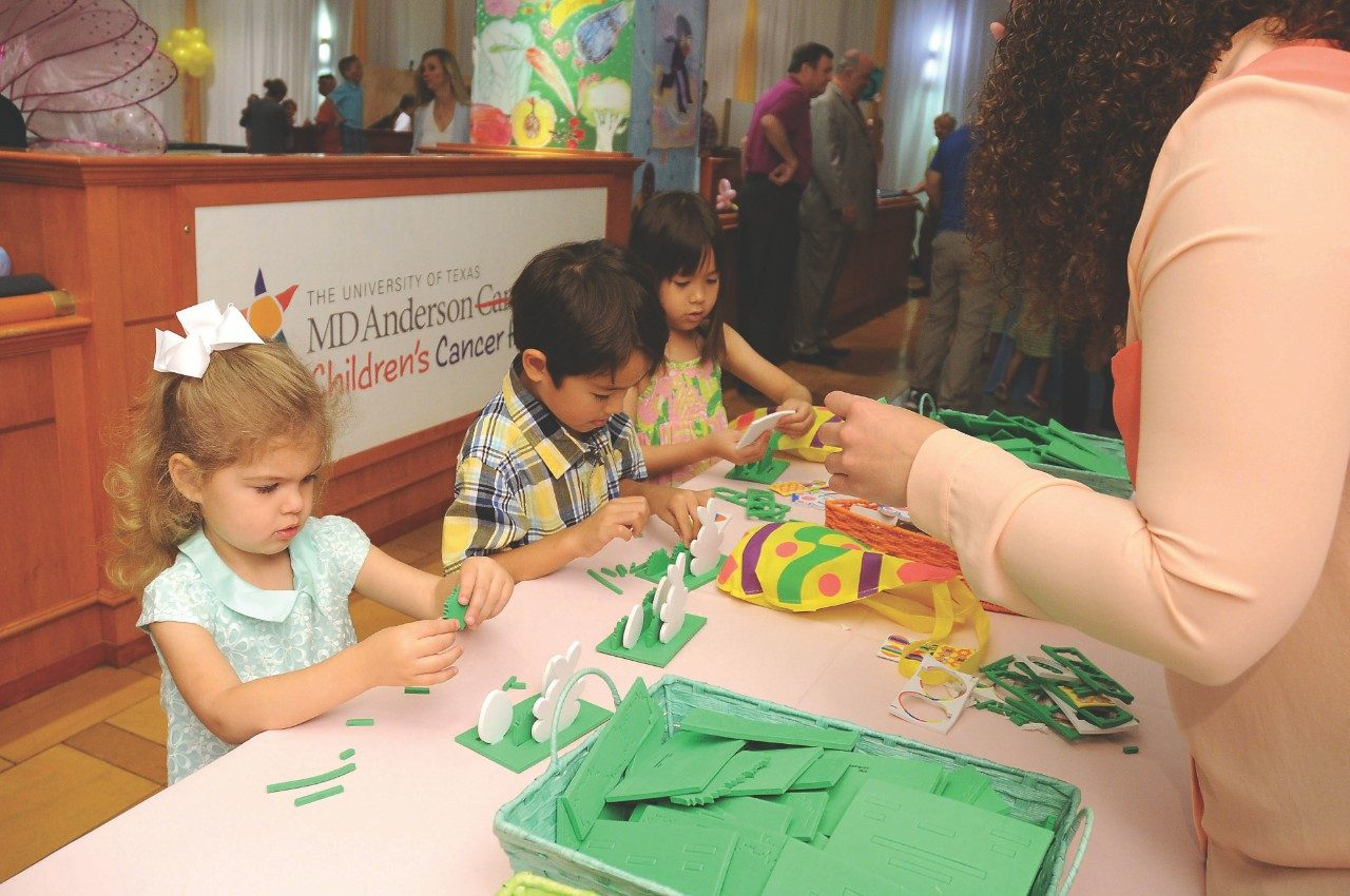 Craft activities keep budding artists busy at the Little Galleria in Houston at an annual springtime celebration benefiting MD Anderson Children's Cancer Hospital.