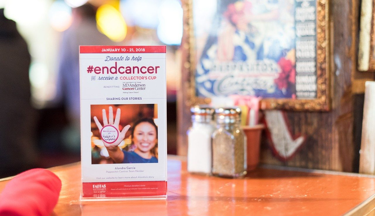 Pappas restaurants in Texas held a two-week End Cancer campaign in January to raise money to support cancer research at MD Anderson. Since 2015, Pappas has raised more than $480,000 for MD Anderson through customer donations and the restaurant's matching funds. This year's campaign raised $155,000 in support of the Moon Shots Program™, with Pappas matching all donations up to $75,000.