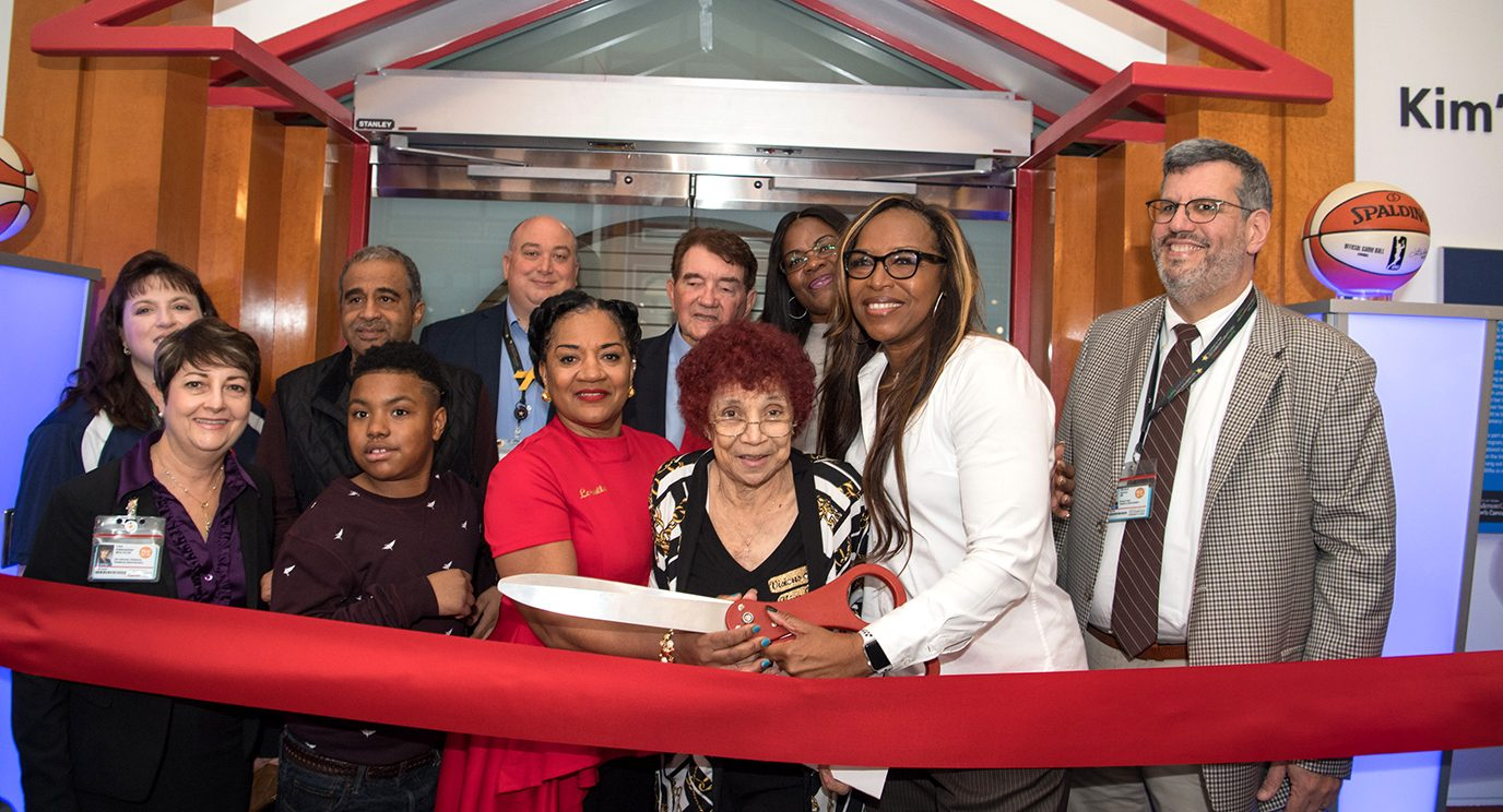 A ribbon-cutting ceremony for the redesigned Kim's Place included the late basketball player's friends, family, Houston Comets teammates and coach, and representatives of MD Anderson Children's Cancer Hospital.