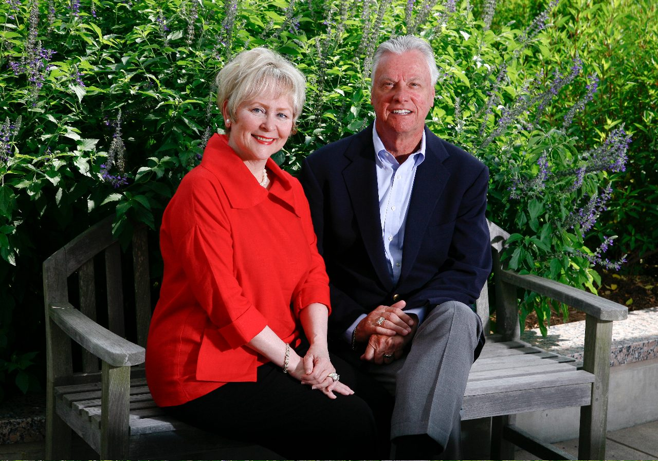 Tycha and Ron Stading enjoy a moment in the Bartolotta Family Garden at the Lowry and Peggy Mays Clinic. They've made it their philanthropic goal to help individualize therapies for fellow patients at MD Anderson. Photo by John Everett.
