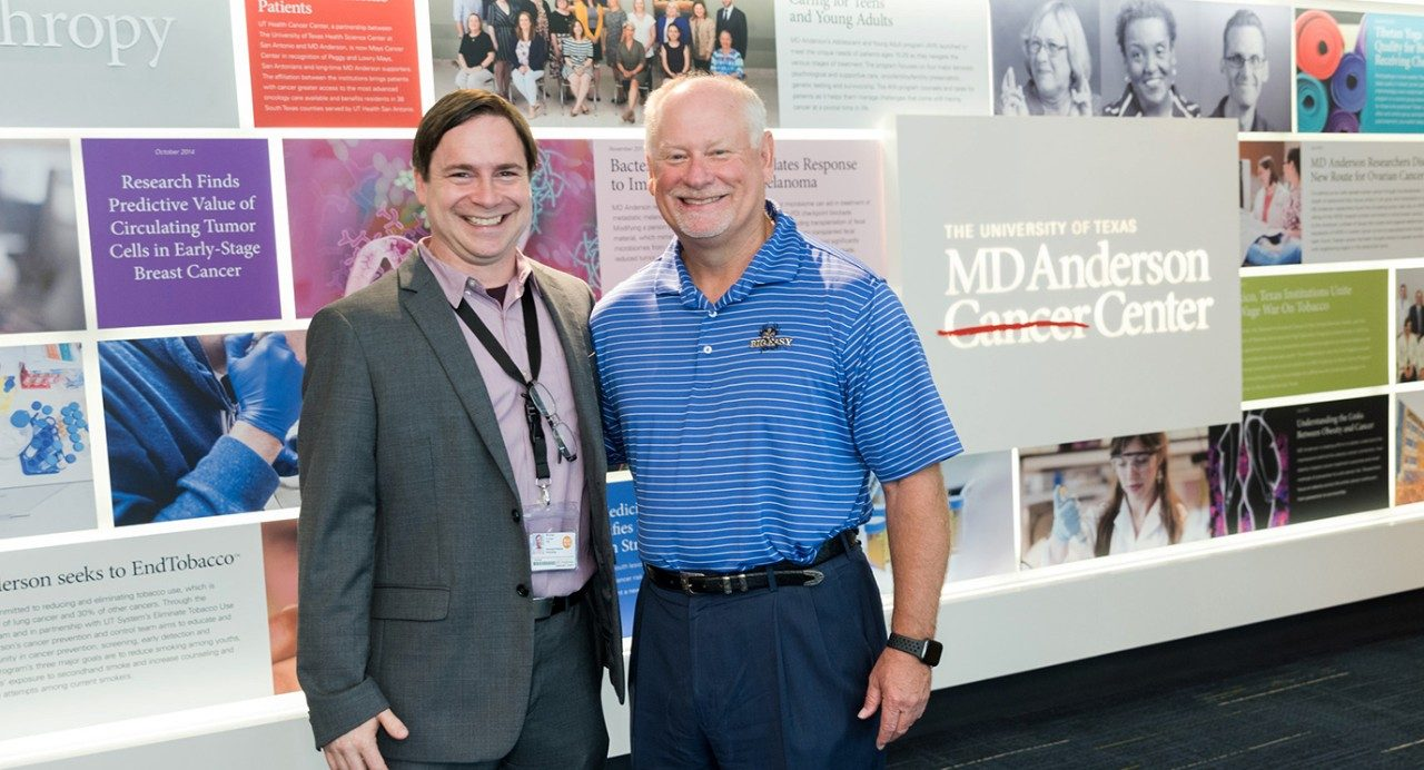 Michael Curran, Ph.D., associate professor of Immunology, and Billy Brown, prostate cancer survivor