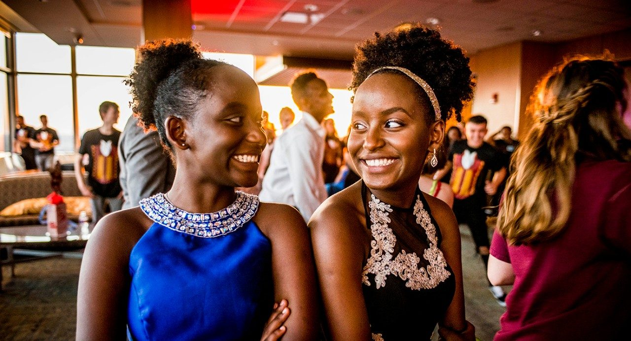 Twin sisters Aaliyah and Rayne Parker enjoy Prom Party Palooza at MD Anderson.