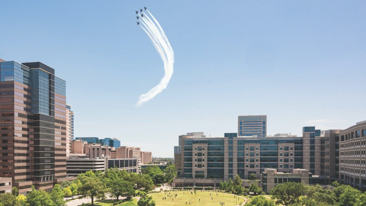 Blue Angels fly over the Texas Medical Center