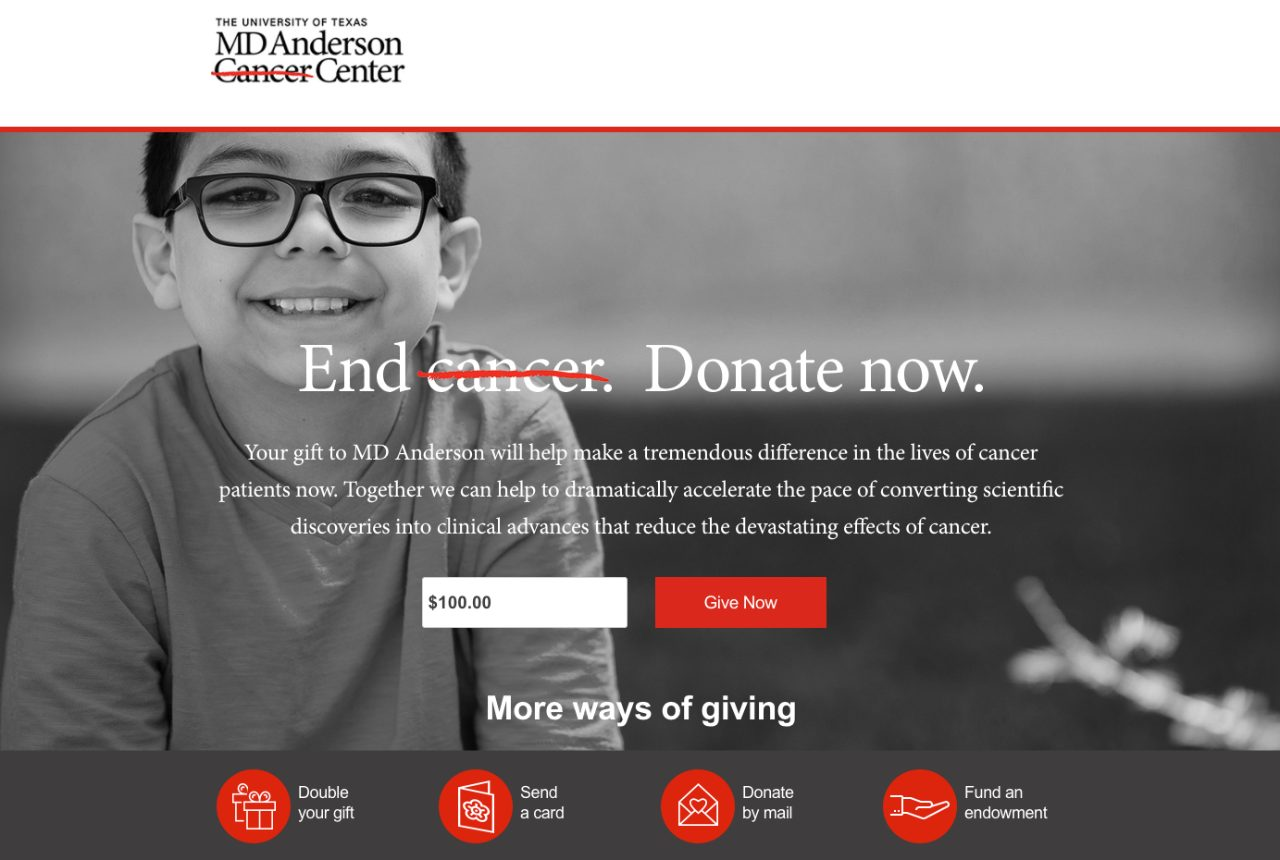 Email appeals aim to broaden MD Anderson's donor base and raise awareness of philanthropy's role in the institution's mission to end cancer.