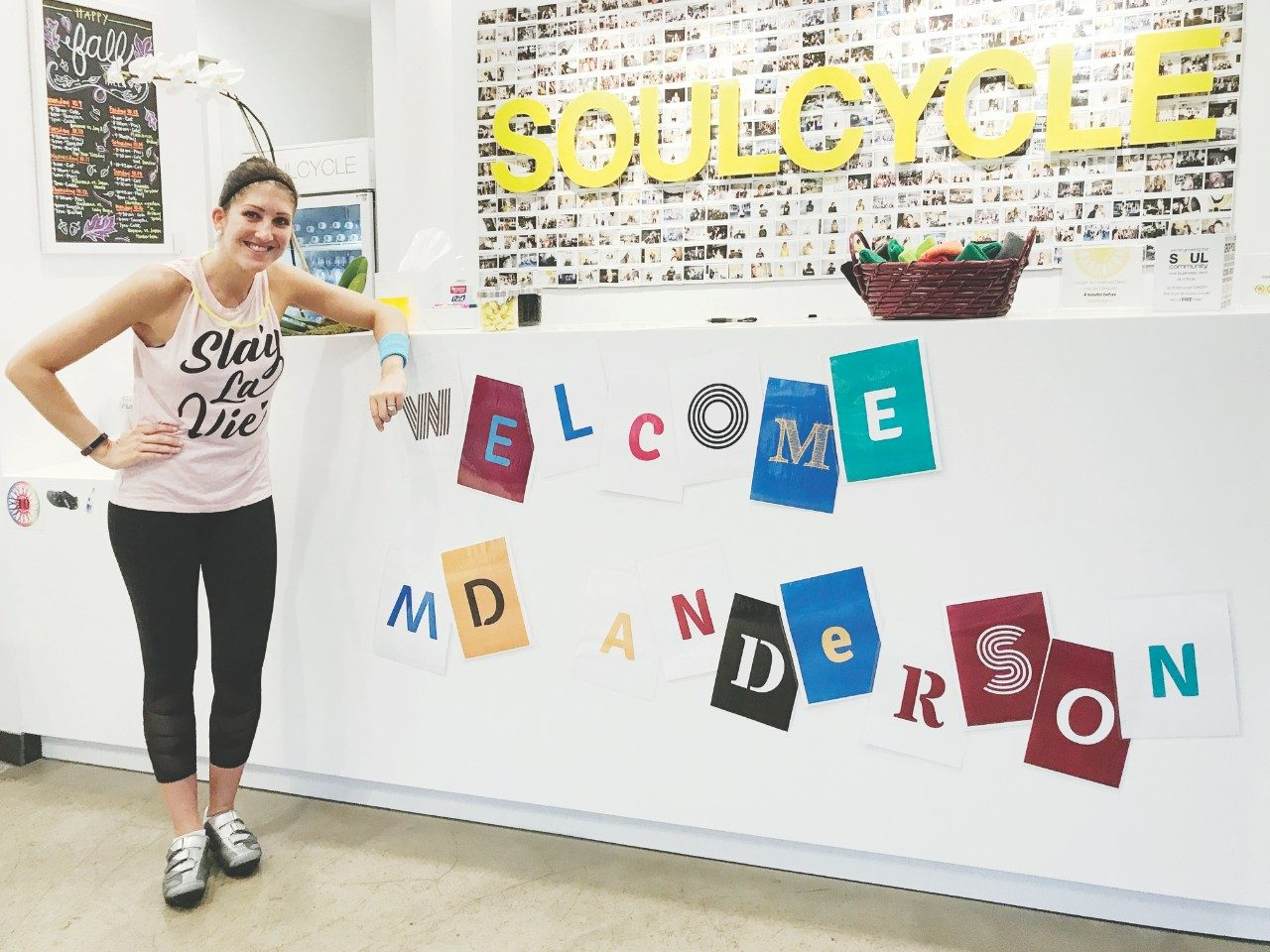 Breast cancer survivor Caroline Brown celebrates her five years of cancer survivorship by organizing a donation ride at SoulCycle, raising nearly $9,000 for MD Anderson's Caring Fund.