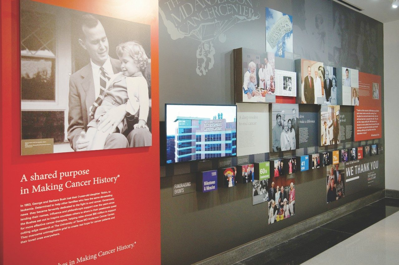 Two exhibits debuted in late 2017 honoring the dedication of cancer fighters over the decades who have supported MD Anderson's mission to end cancer.