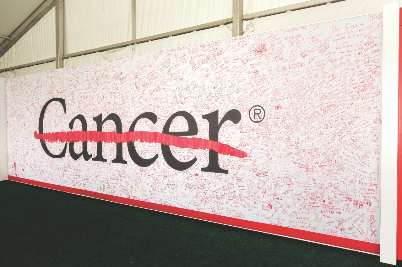 MD Anderson's Strike Through Cancer wall.