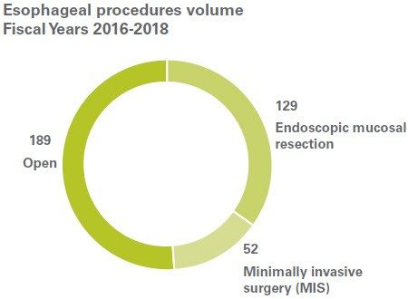 Esophageal procedures three-year volumes