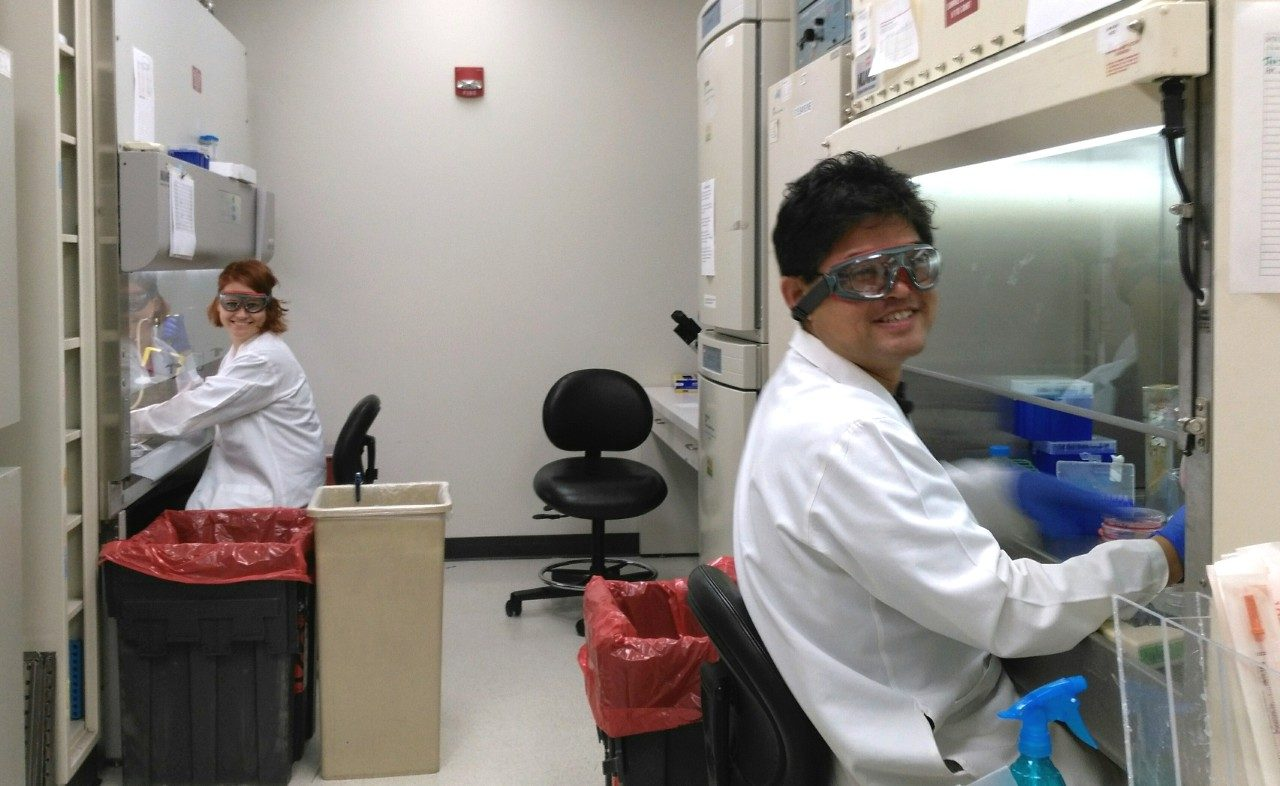 Lozano lab staff in hood room